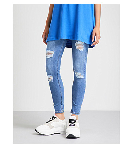 HERA Ripped skinny cotton-blend jeans (Dark+blue