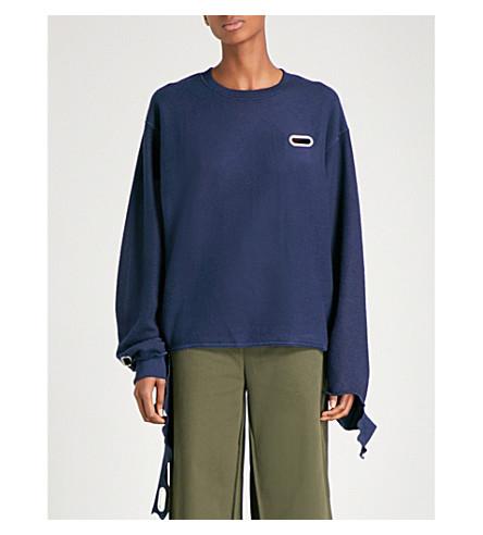 COLLINA STRADA Grommet jersey sweatshirt (Navy