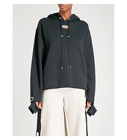 COLLINA STRADA Grommet jersey hoody (Black