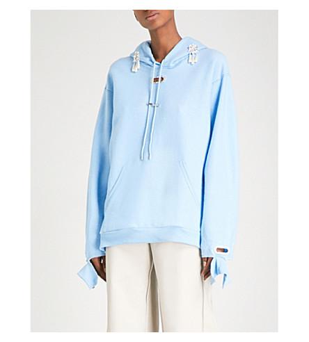 COLLINA STRADA Grommet jersey hoody (Lt+blue