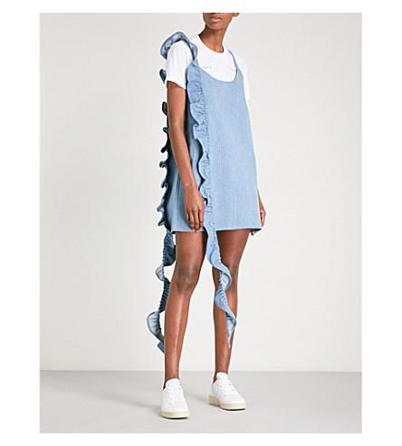 COLLINA STRADA Slacker ruffled denim mini dress (Blue+denim