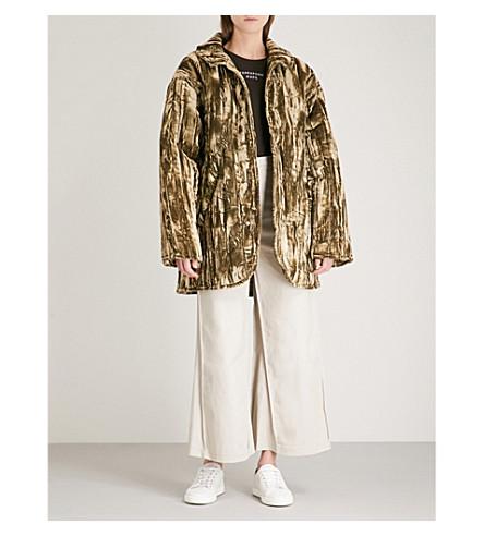 COLLINA STRADA Shelter padded velvet jacket (Green