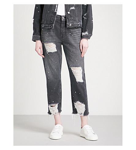 7 FOR ALL MANKIND Josefina studded slim-fit high-rise jeans (Vintage+black