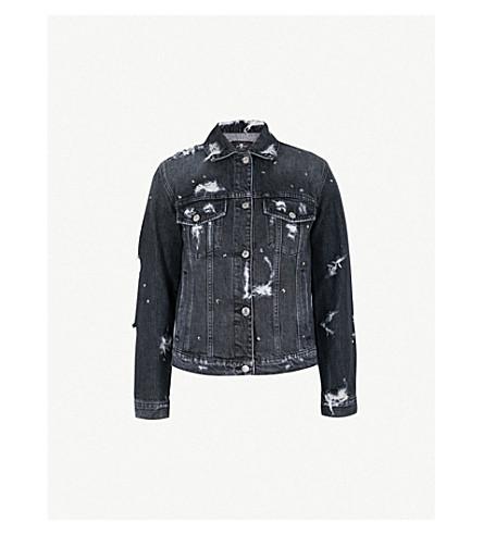 7 FOR ALL MANKIND Studded denim boyfriend jacket (Vintage+black
