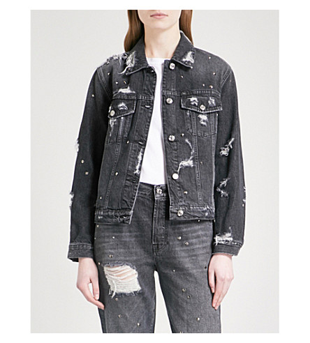 7 FOR ALL MANKIND Studded denim boyfriend jacket (Vintage+black