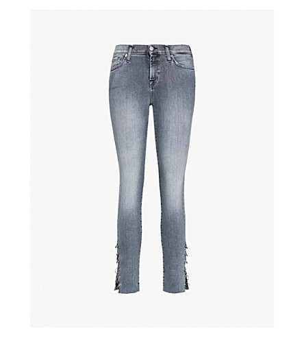 7 FOR ALL MANKIND The Skinny Crop Eyelet mid-rise slim-fit jeans (Moondance