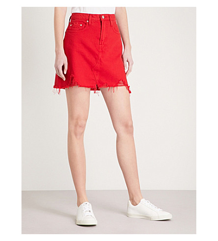 NOBODY DENIM Piper distressed denim skirt (Ruby