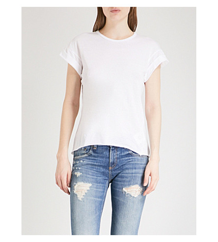NOBODY DENIM Organic Roll cotton-jersey T-shirt (Lt+white