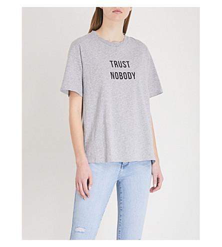 NOBODY DENIM Trust Nobody cotton-jersey T-shirt (Sterling