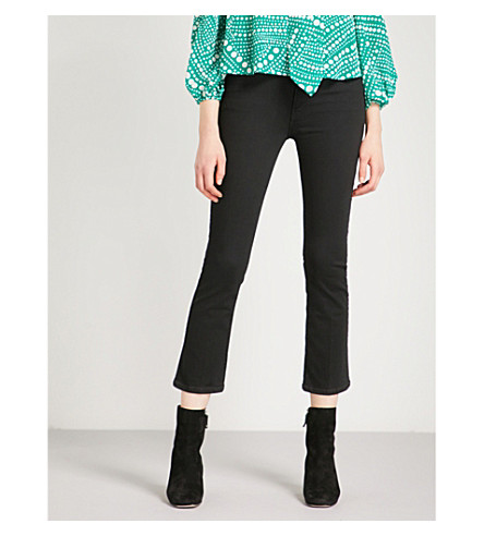 MOTHER The Insider Crop slim-fit flared high-rise jeans (Not+guilty