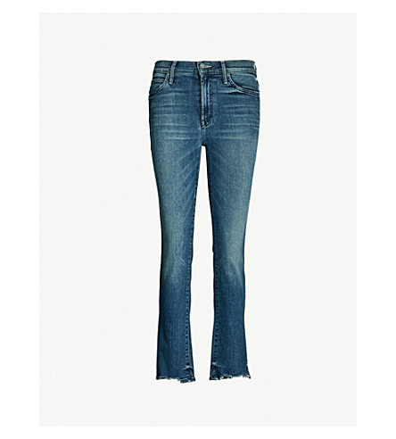 MOTHER The Rascal Ankle Chew frayed mid-rise slim-fit jeans (The ones we used to know