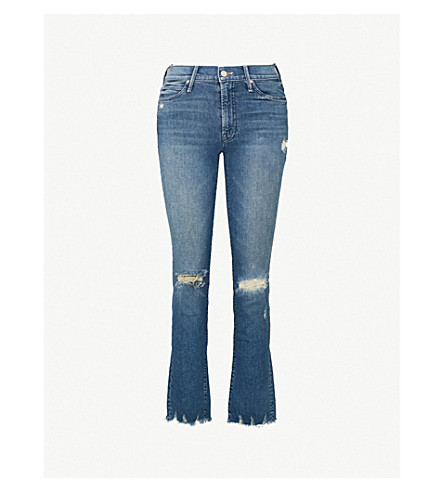 MOTHER Rascal distressed mid-rise straight cropped jeans (Learning to hula
