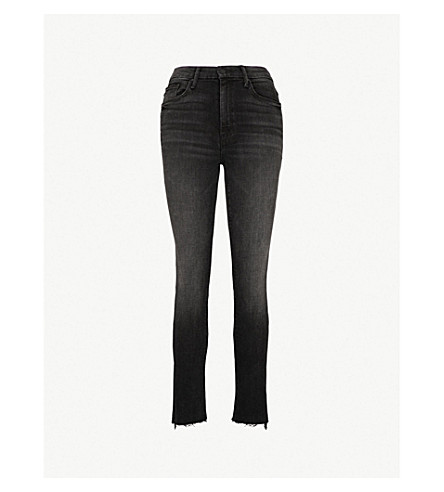 MOTHER Looker frayed-cuff high-rise skinny jeans (Night hawk