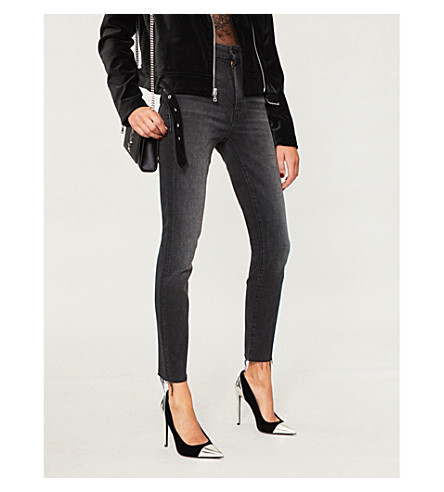 MOTHER Looker frayed-cuff high-rise skinny jeans (Night+hawk