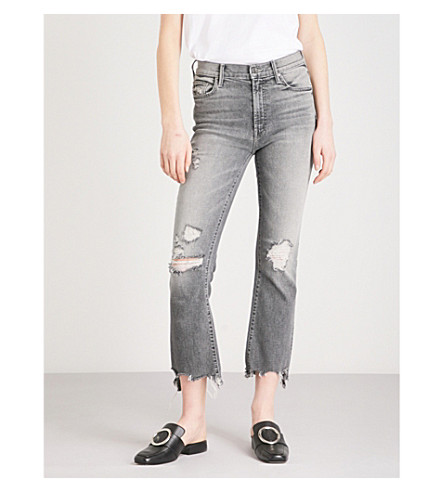MOTHER The Insider Crop Step slim-fit straight high-rise jeans (Scene+of+the+crime