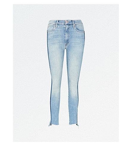 MOTHER The Stunner Zip Ankle Step skinny cropped mid-rise jeans (Light kitty racer