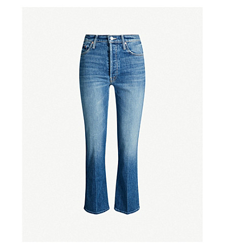 MOTHER The Tripper Ankle slim-fit flared high-rise jeans (Careful what u wish for