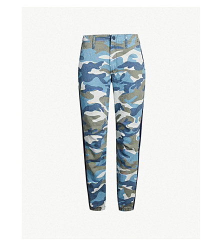 MOTHER The No Zip Misfit tapered mid-rise cotton-blend trousers (Army blue camo
