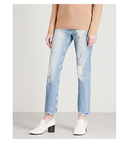 MOTHER The Tomcat Ankle distressed straight mid-rise jeans (Quite+contrary