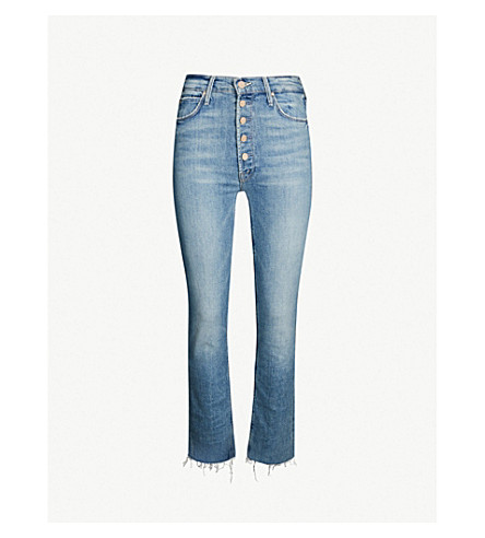 MOTHER The Pixie Dazzler mid-rise frayed-hem straight-leg jeans (Secret sister