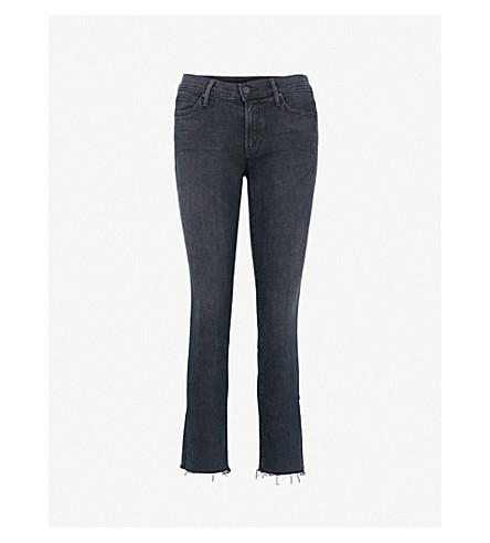 MOTHER The Rascal Ankle Snipper slim-fit straight mid-rise jeans (Blackbird