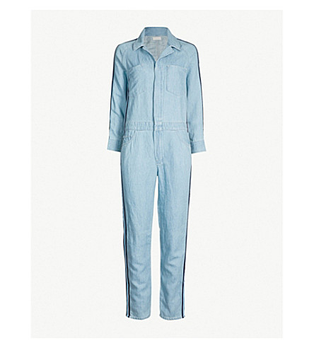 MOTHER The Zip Riveter striped-panel stretch-denim jumpsuit (18 wheels and one steam