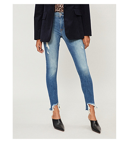 HUDSON JEANS Zoeey regular-fit high-rise jeans (Rip+love