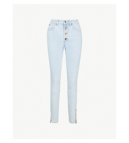GUESS JEANS USA Zip-embellished skinny high-rise jeans (Indigo