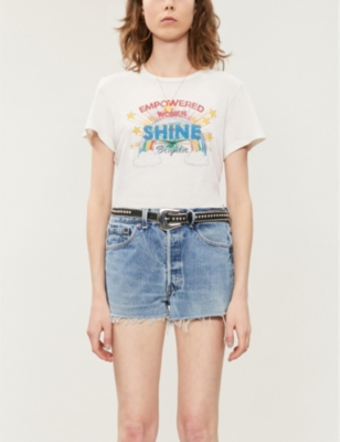 Shine-print cotton T-shirt
