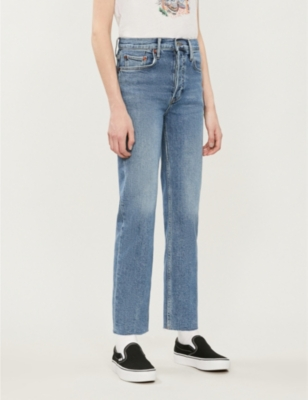 Stove Pipe cropped straight high-rise jeans