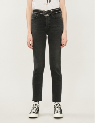 Faded skinny high-rise cropped jeans