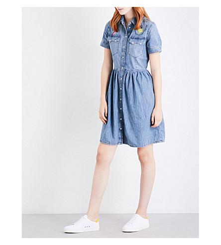 DIESEL Keishi embroidered denim dress (01+blue