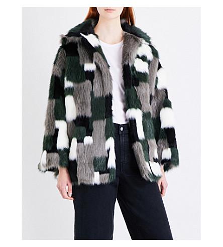 DIESEL L-Zeky patchwork faux-fur jacket (58z+jacquard