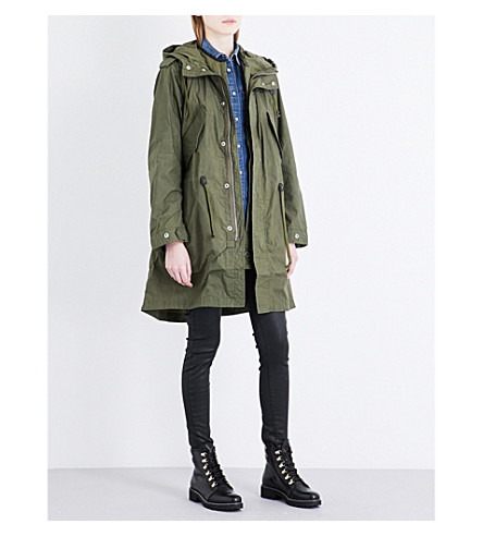 DIESEL W-Terry cotton-blend parka coat (51f+khaki