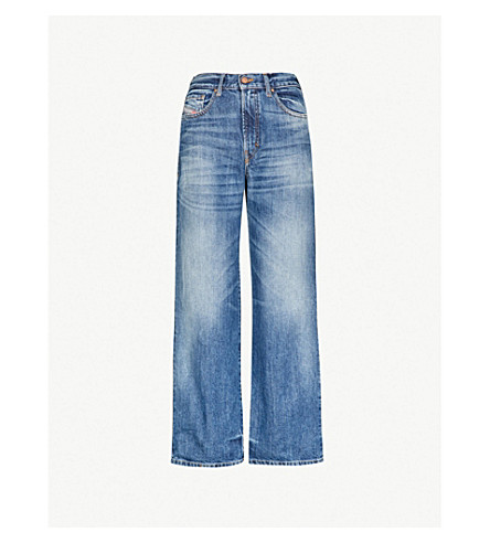 DIESEL Faded wide high-rise cropped jeans (Blue