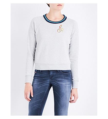 DIESEL F-Catrina-B embroidered cotton-jersey sweatshirt (912+grey