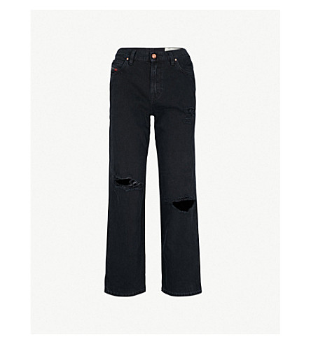 DIESEL Niclah distressed high-rise jeans (02+black+denim