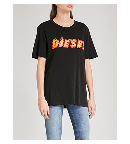 DIESEL Diesel Flame cotton-jersey T-shirt (900+black