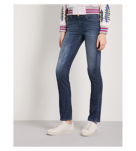 DIESEL Faded slim-fit mid-rise jeans (01+blue