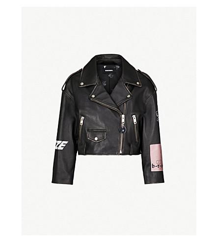 DIESEL Helga graphic-printed leather jacket (Black