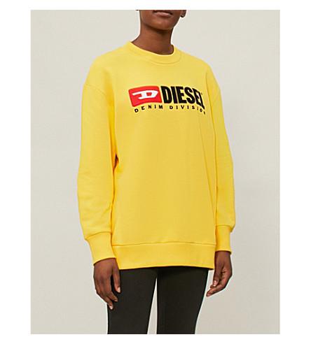 DIESEL Denim-division stretch-jersey sweatshirt (Yellow