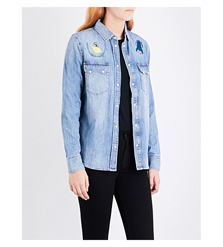 DIESEL De-Lilla embroidered denim shirt (01+blue