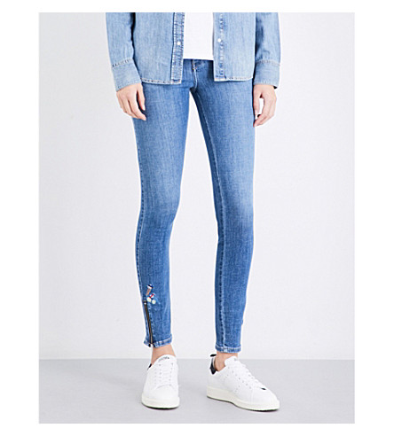 DIESEL Skinzee embroidered skinny mid-rise jeans (01+blue