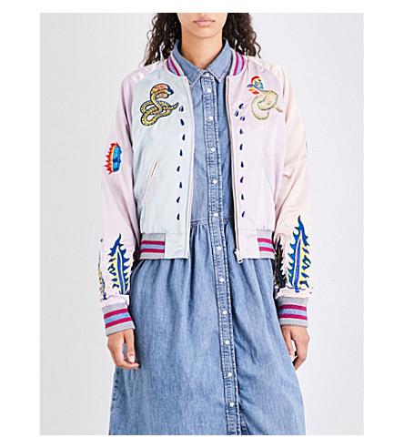 DIESEL Absol embroidered satin jacket (37ca+pink