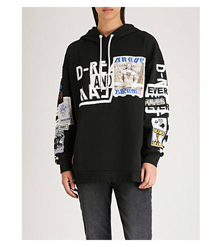 DIESEL Jack embroidered printed patches cotton-jersey hoody (Black