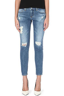 AG The Stilt distressed mid-rise skinny jeans