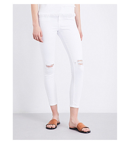 AG The Mila Ankle super-skinny high-rise jeans (White+impressions