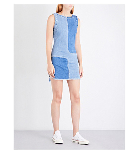 AG Indie patchwork denim dress (Blue+mystery+-+patched
