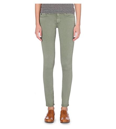 AG Stilt slim-fit mid-rise cigarette jeans (Sulfur+dry+leaf