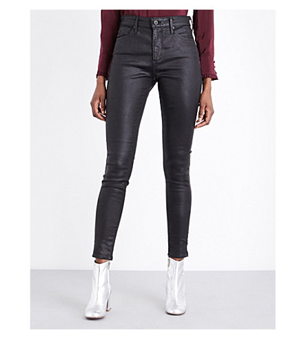 AG The Farrah skinny high-rise jeans (Leatherette+super+black